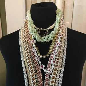"""Jewelry - Lot of 9 Vintage Crocheted Necklaces 14""""- 45"""" sign"""